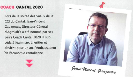 Jean-Vincent Gauzentes, Directeur Général d'Agrolab's nommé Coach Cantal 2020.